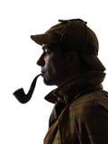 Het silhouet van Sherlock holmes stock foto