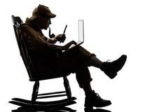 Het silhouet van Sherlock holmes gegevensverwerking stock fotografie