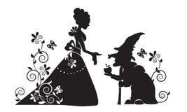 Het silhouet van Sneeuwwit en de kwade heks Stock Afbeelding