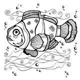 Het silhouet van stencilvissen Stock Afbeelding