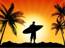 Het silhouet van Surfer Stock Foto