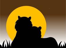 Het silhouet van tijgers Royalty-vrije Stock Afbeeldingen