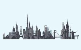 Het silhouet van wereldoriëntatiepunten Reis en toerismeachtergrond Stock Afbeelding