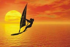 Het silhouet van Windsurfer Royalty-vrije Stock Afbeeldingen