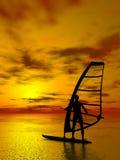 Het silhouet van Windsurfer Stock Afbeelding