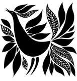 Het silhouet volksornament van de vogel Stock Fotografie
