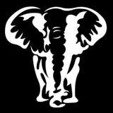 Het silhouet, wordt een contour van een olifant van witte kleur op een zwarte achtergrond getrokken met verschillende breedtelijn stock illustratie