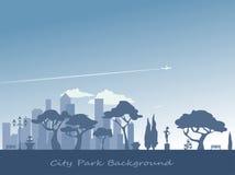 Het silhouetachtergrond van het stadspark Stock Afbeeldingen