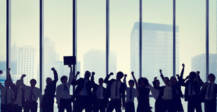 Het Silhouetconcept van de bedrijfsmensenviering Stock Afbeelding