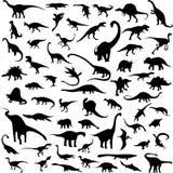Het silhouetcontour van de dinosaurus Stock Afbeelding
