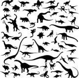 Het silhouetcontour van de dinosaurus Stock Foto's