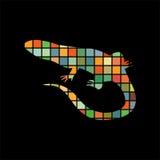 Het silhouetdier van de hagedis reptielkleur royalty-vrije illustratie