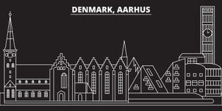Het silhouethorizon van Aarhus De vectorstad van Denemarken - van Aarhus, Deense lineaire architectuur, gebouwen De reis van Aarh vector illustratie