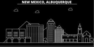 Het silhouethorizon van Albuquerque De V.S. - De vectorstad van Albuquerque, Amerikaanse lineaire architectuur, gebouwen De lijn  stock illustratie