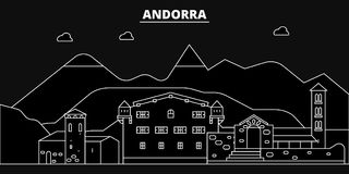 Het silhouethorizon van Andorra De vectorstad van Andorra, Andorrese lineaire architectuur, de illustratie van de buildinglinerei stock illustratie