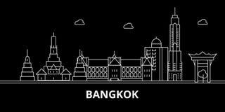 Het silhouethorizon van Bangkok De vectorstad van Thailand - van Bangkok, Thaise lineaire architectuur, gebouwen De Reis van Bang stock illustratie