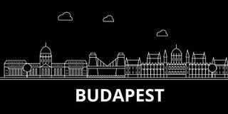 Het silhouethorizon van Boedapest De vectorstad van Hongarije - van Boedapest, Hongaarse lineaire architectuur, gebouwen De reis  royalty-vrije illustratie