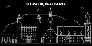 Het silhouethorizon van Bratislava De vectorstad van Slowakije - van Bratislava, Slowaakse lineaire architectuur, gebouwen bratis royalty-vrije illustratie
