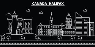 Het silhouethorizon van Halifax De vectorstad van Canada - van Halifax, Canadese lineaire architectuur, gebouwen De reis van Hali stock illustratie