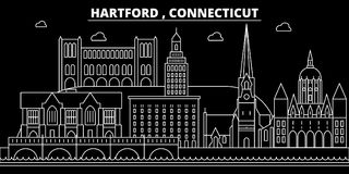 Het silhouethorizon van Hartford De V.S. - De vectorstad van Hartford, Amerikaanse lineaire architectuur, gebouwen De reis van Ha royalty-vrije illustratie