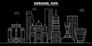 Het silhouethorizon van Kiev De vectorstad van de Oekraïne - van Kiev, Oekraïense lineaire architectuur, gebouwen De reisillustra vector illustratie