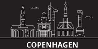 Het silhouethorizon van Kopenhagen De vectorstad van Denemarken - van Kopenhagen, Deense lineaire architectuur, gebouwen kopenhag stock illustratie