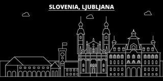 Het silhouethorizon van Ljubljana De vectorstad van Slovenië - van Ljubljana, Sloveense lineaire architectuur, gebouwen ljubljana stock illustratie