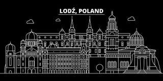 Het silhouethorizon van Lodz Polen - poetst de vectorstad van Lodz, lineaire architectuur, gebouwen op De reisillustratie van Lod stock illustratie