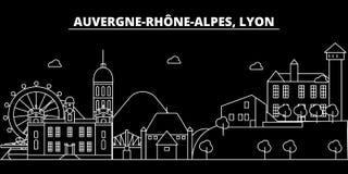 Het silhouethorizon van Lyon De vectorstad van Frankrijk - van Lyon, Franse lineaire architectuur, gebouwen De reisillustratie va vector illustratie