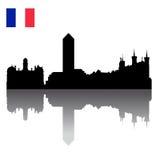 Het silhouethorizon van Lyon met Franse vlag Stock Fotografie