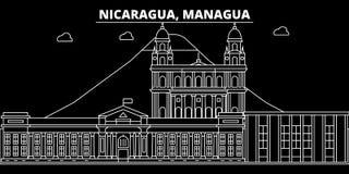 Het silhouethorizon van Managua De vectorstad van Nicaragua - van Managua, nicaraguan lineaire architectuur, gebouwen De reis van royalty-vrije illustratie