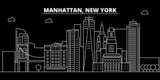 Het silhouethorizon van Manhattan De V.S. - De vectorstad van Manhattan, Amerikaanse lineaire architectuur, gebouwen De reis van  royalty-vrije illustratie