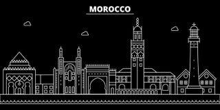 Het silhouethorizon van Marokko, vectorstad, Marokkaanse lineaire architectuur, gebouwen De reisillustratie van Marokko, overzich stock illustratie