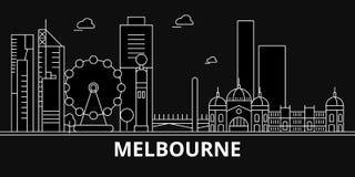 Het silhouethorizon van Melbourne De vectorstad van Australië - van Melbourne, Australische lineaire architectuur, gebouwen melbo vector illustratie