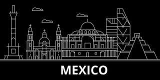 Het silhouethorizon van Mexico, vector, stad, Mexicaanse lineaire architectuur, gebouwen De reisillustratie van Mexico, overzicht vector illustratie