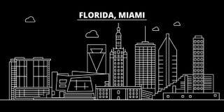 Het silhouethorizon van Miami De V.S. - De vectorstad van Miami, Amerikaanse lineaire architectuur, gebouwen De reisillustratie v royalty-vrije illustratie