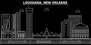 Het silhouethorizon van New Orleans De V.S. - De vectorstad van New Orleans, Amerikaanse lineaire architectuur, gebouwen New Orle royalty-vrije illustratie