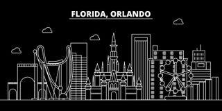 Het silhouethorizon van Orlando De V.S. - De vectorstad van Orlando, Amerikaanse lineaire architectuur, gebouwen De reis van Orla vector illustratie