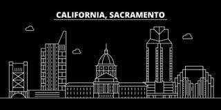Het silhouethorizon van Sacramento De V.S. - De vectorstad van Sacramento, Amerikaanse lineaire architectuur, gebouwen De reis va vector illustratie