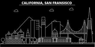 Het silhouethorizon van San Francisco De V.S. - De vectorstad van San Francisco, Amerikaanse lineaire architectuur, gebouwen san vector illustratie