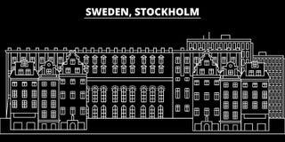 Het silhouethorizon van Stockholm De vectorstad van Zweden - van Stockholm, Zweedse lineaire architectuur, gebouwen De reis van S stock illustratie