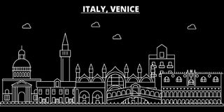 Het silhouethorizon van Venetië De vectorstad van Italië - van Venetië, Italiaanse lineaire architectuur, gebouwen De reis van Ve vector illustratie