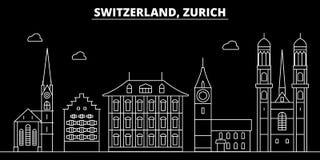 Het silhouethorizon van Zürich De vectorstad van Zwitserland - van Zürich, Zwitserse lineaire architectuur, gebouwen De reis van  stock illustratie