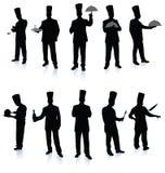 Het silhouetinzameling van de chef-kok Stock Foto