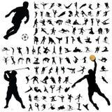 Het silhouetinzameling van de sport Stock Foto's