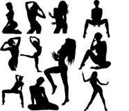 Het silhouetinzameling van de vrouw Stock Afbeelding