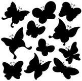 Het silhouetinzameling van vlinders Royalty-vrije Stock Afbeeldingen