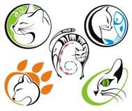 Het silhouetinzamelingen van de kat Stock Afbeelding