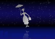Het silhouetmeisje drijft met paraplu in zijn hand, Mary Poppins-stijl, vectorillustratie vector illustratie