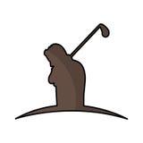 Het silhouetpictogram van de golfspeler royalty-vrije illustratie